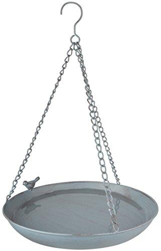 "Esschert Design Grey Metal Vogeltränke, hängend, aus dem Material ""Metall"", 30,4 x 30,4 x 5,8 cm"