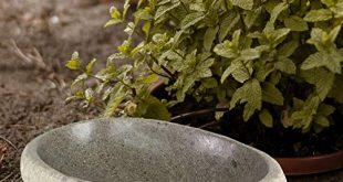 Oriental Galerie Vogeltränke frostfest + UV-Best. Naturstein Garten Vogelbad Wasserschale Wassertränke f. Vögel u. Insekten Stein Vogel-Schale Trinkstein Flussstein frostsicher Gartentränke 20-30cm